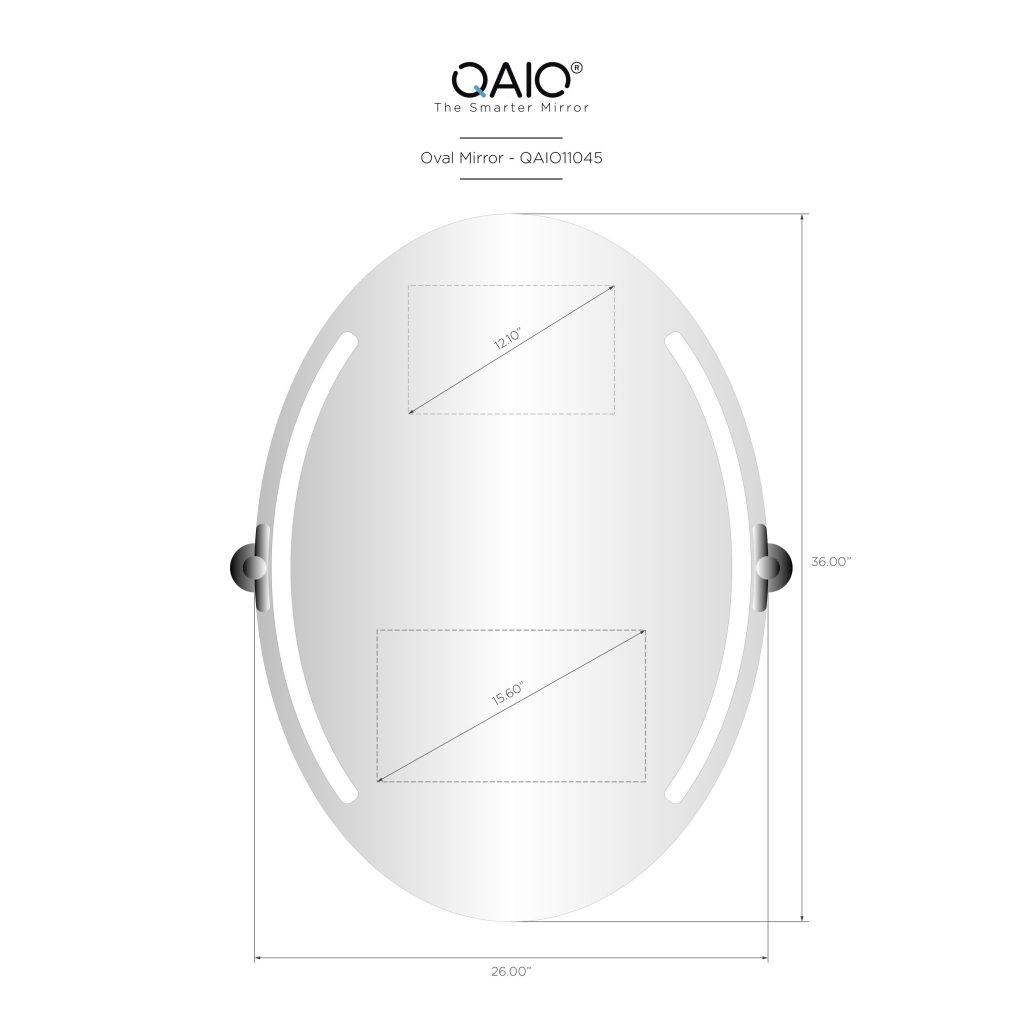 """QAIO Oval  66cm wide x 91cm high, with 15.6""""  TV (QAIO11005)"""