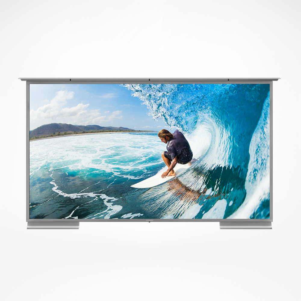 An all-weather outdoor TV with sunlight ready 4K ultra hd resolution.
