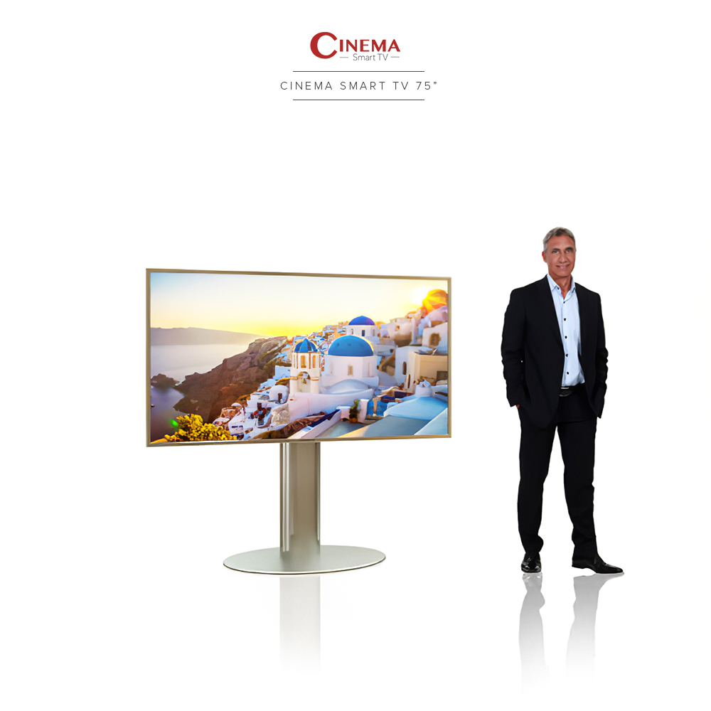 A big and tall cinema TV with its casing, poles, and stand made of 100% stainless steel for durability and beauty.