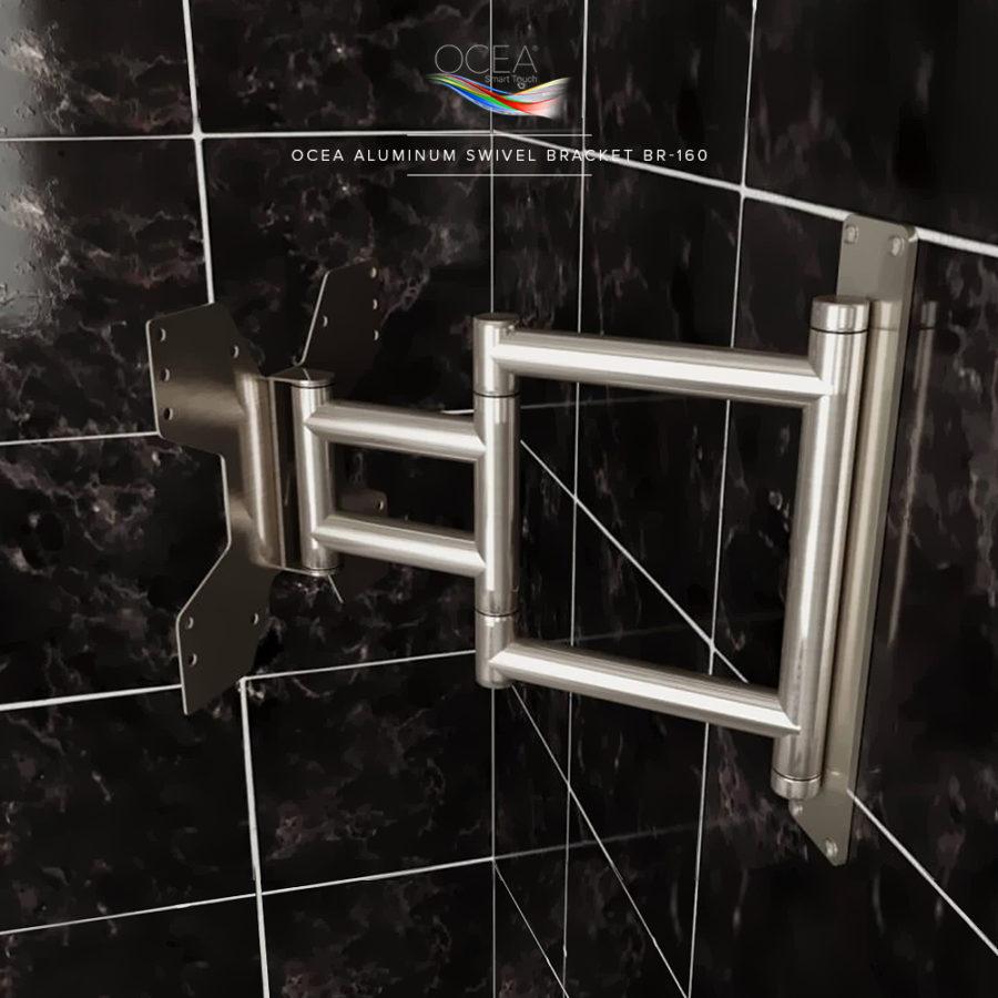 Heavy duty swivel mount bracket made of aluminum for a bathroom TV.