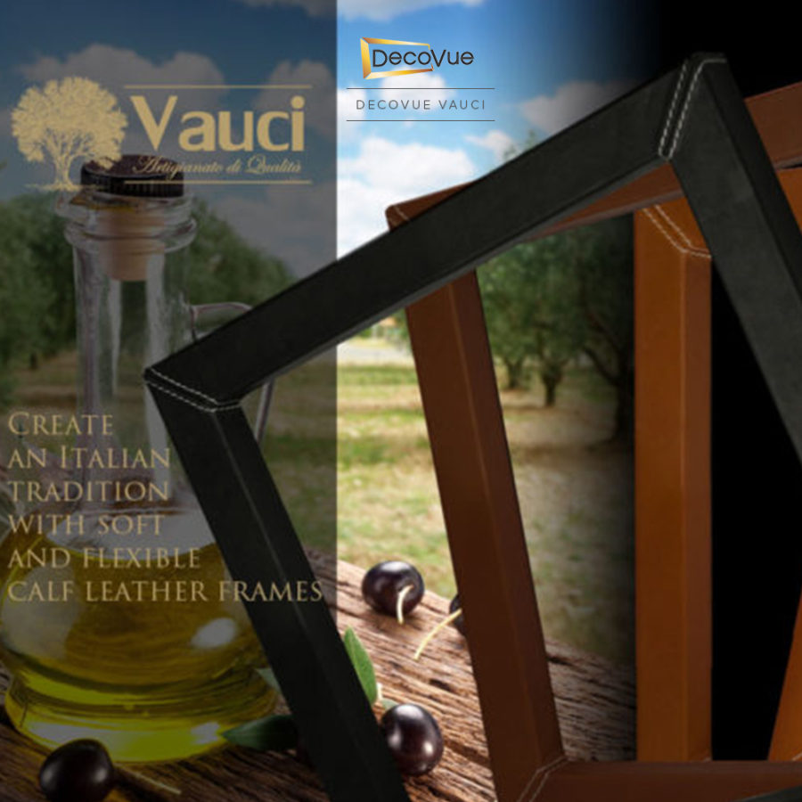 Calf leather smart TV frames by Vauci.