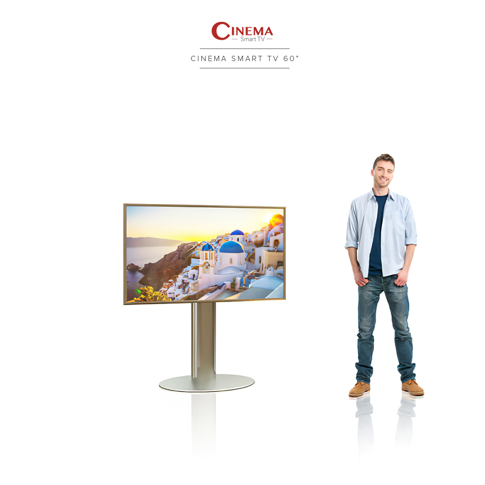 Cinema TV with its stainless steel stand with a guy standing next to it.