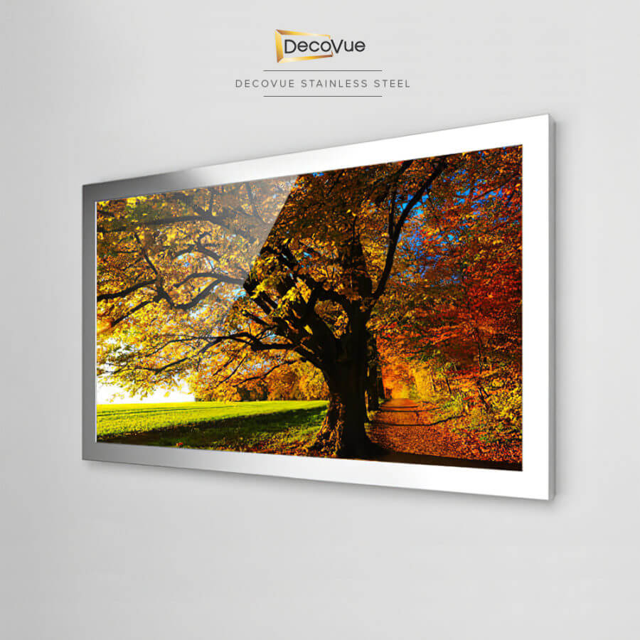 Stunning smart TV framed in stainless steel.