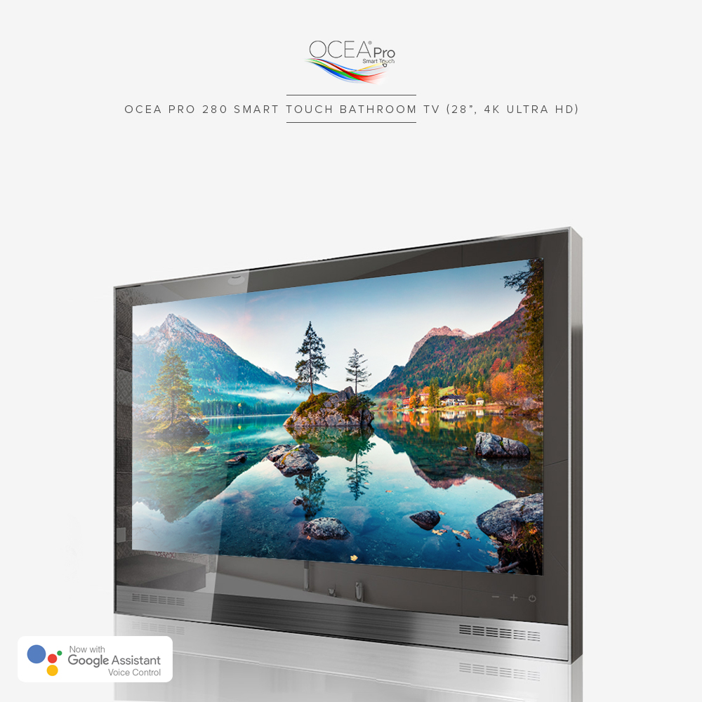 4k ultra high definition bathroom TV with Google Assistant voice control.