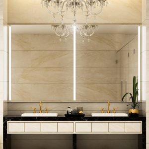 Bathroom mirror with beautiful integrated lights.