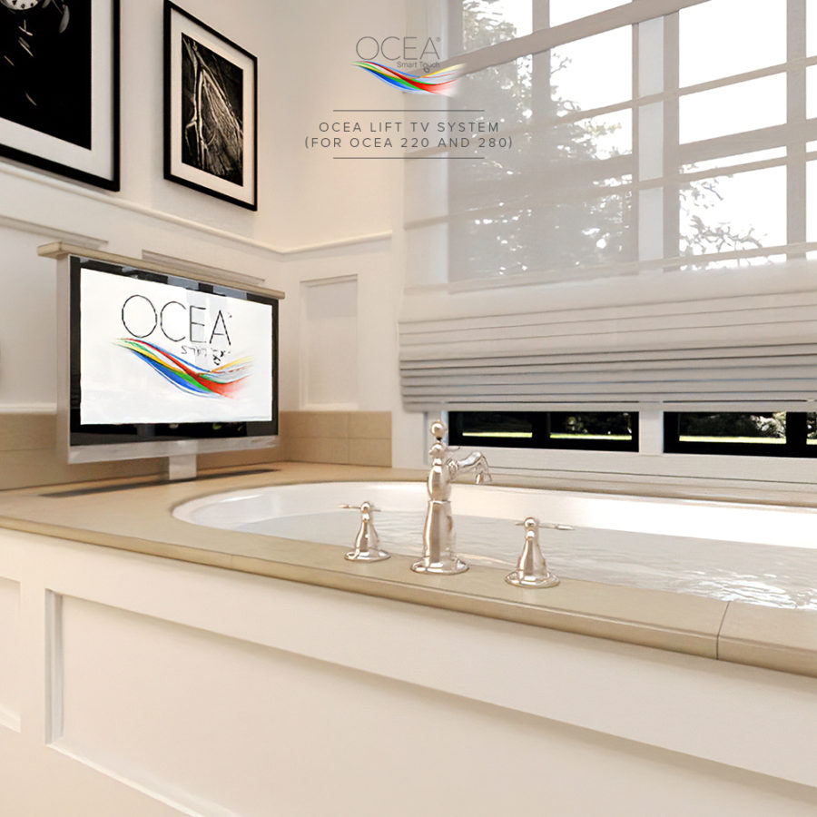 Our bathroom TV has a popup or dropdown lift that can be installed in your tub.