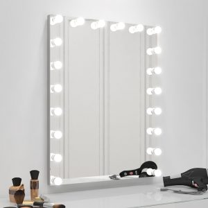 Makeup vanity mirror with lights.