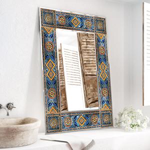 Tiled mirror frame Meditteranean inspired.