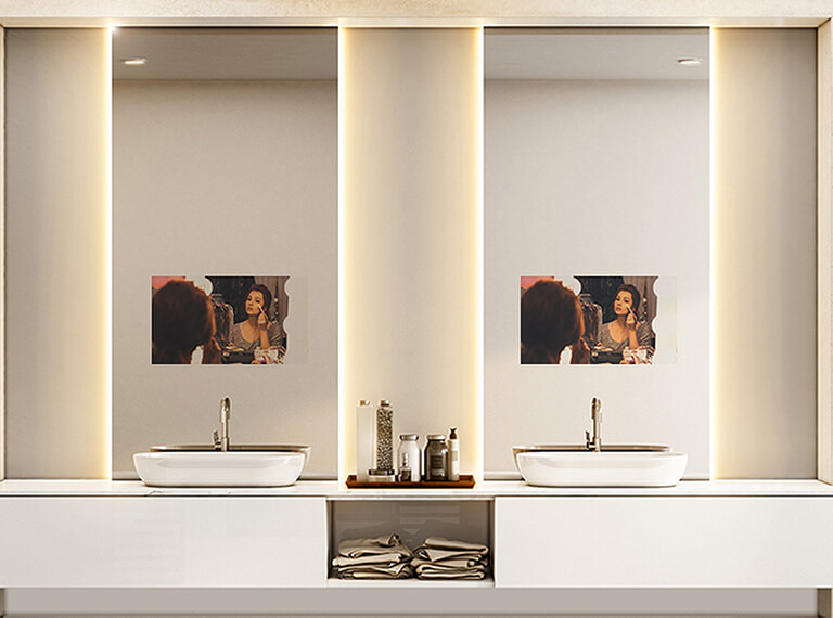 Elegant vanity mirror TV with backlight.