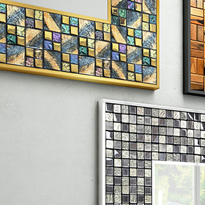 Mosaic inspired frame for mirrors.