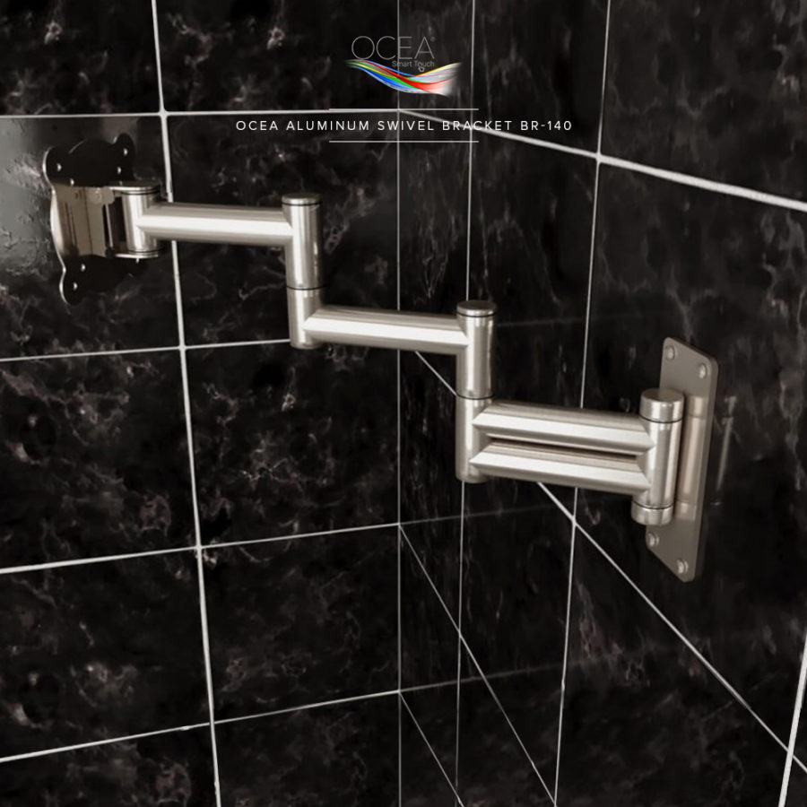 Long arm aluminum bathroom TV bracket that can be swiveled to your desired angle.