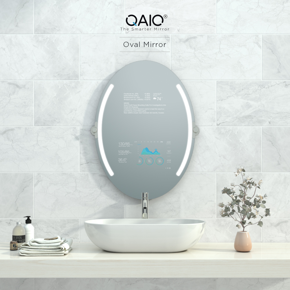 An oval vanity mirror that is very smart with the temperature, weather, news, and more displayed on its screen.