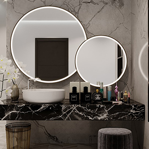 Round lighted mirrors.