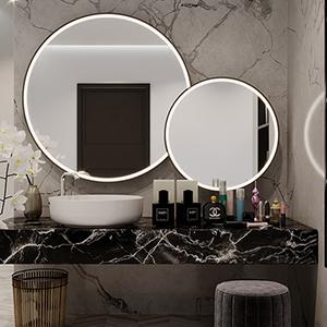 Round lighted mirrors.