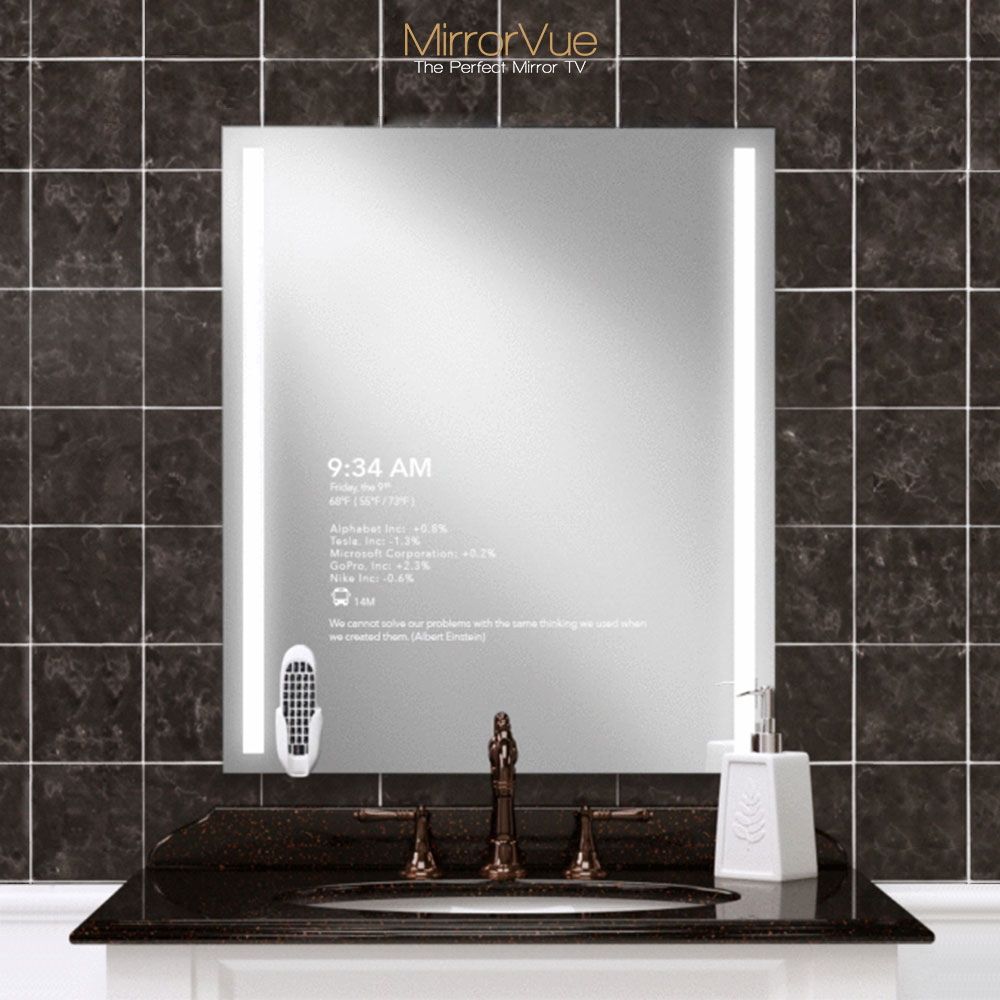 A single mirror tv for your bathroom sink.
