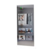 A sleek fitness mirror TV with its ceiling mount made of solid stainless steel.