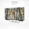 Snug fit neoprene fabric TV cover with patterns of autumn leaves and tree branches.