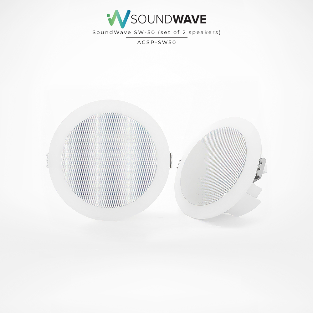 Soundwave white round speakers provide excellent audio quality.