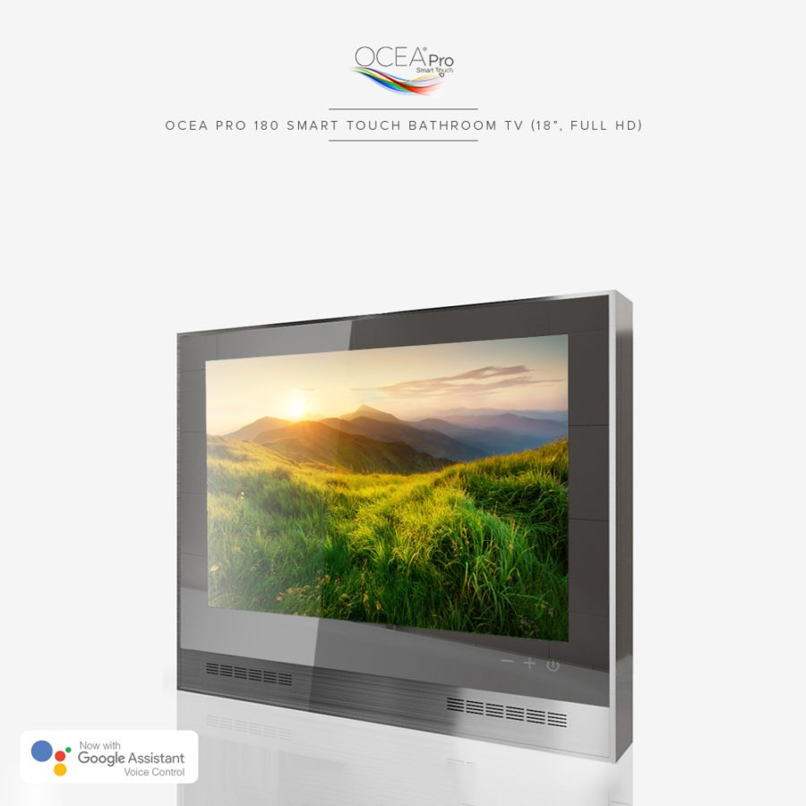 A smart bathroom TV with speaker bars and three touch buttons on the front of the TV.