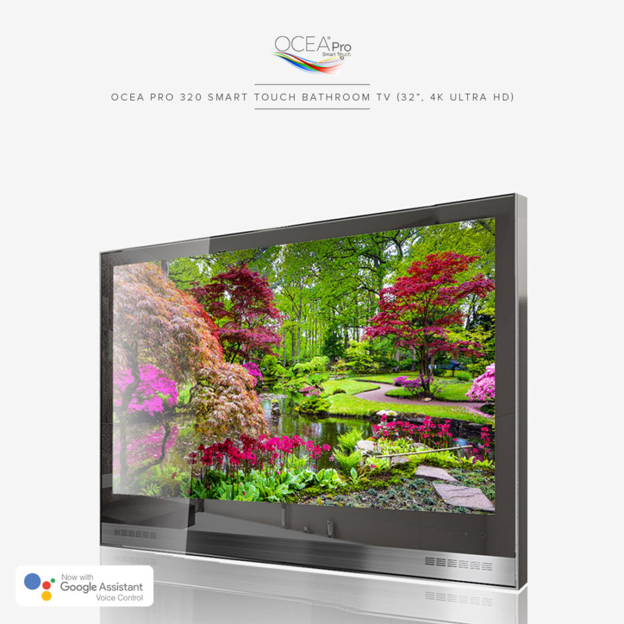 Vivid and bright picture quality displayed on the screen of this 4k ultra-high def bathroom TV.
