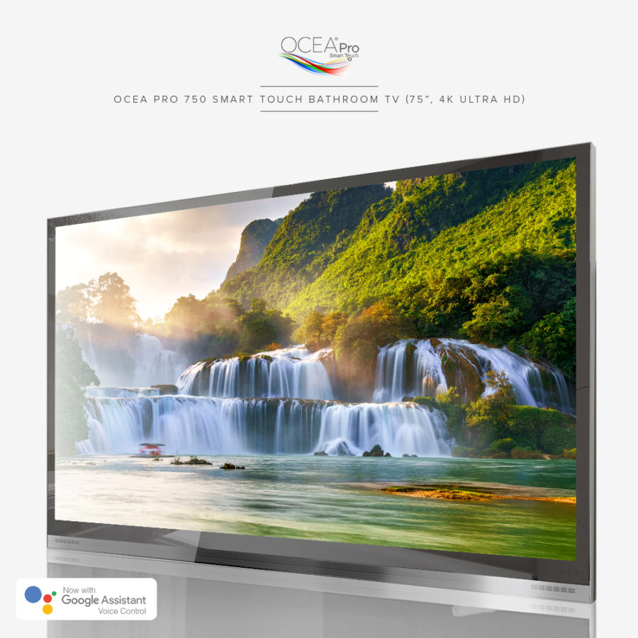 4k ultra high-def bathroom TV equipped with Google Assistant voice control.
